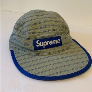 Supreme Nepal Woven Fitted Camp Cap Green/Blue S/M